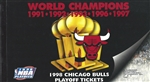 1998 Chicago Bulls Playoffs Ticket Book with 3 tickets
