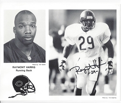 CHICAGO BEARS RAYMONT HARRIS SIGNED 8X10 PUBLICITY PHOTO AUTOGRAPH