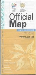 1998 Official Map of Nagano XVIII Winter Olympics